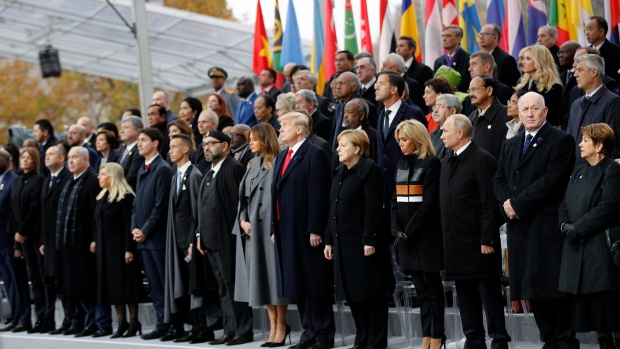 Heads of states and world leaders attend ceremonies at the Arc de Triomphe, Sunday, Nov. 11, 2018 in Paris. (AP Photo/Francois Mori, Pool)