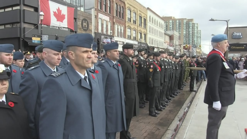 Remembrance Day ceremony held at the Barrie Cenotaph on Dunlop Street in Barrie, Ont., on Sunday, November 11, 2018 (CTV News/Steve Mansbridge)