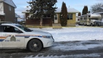 Police car outside a home in Selkirk on Saturday Nov. 10. (Source: Gary Robson/CTV News)