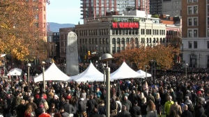 Remembrance Day ceremony at the Cenotaph at Victory Square on Nov. 11, 2018.