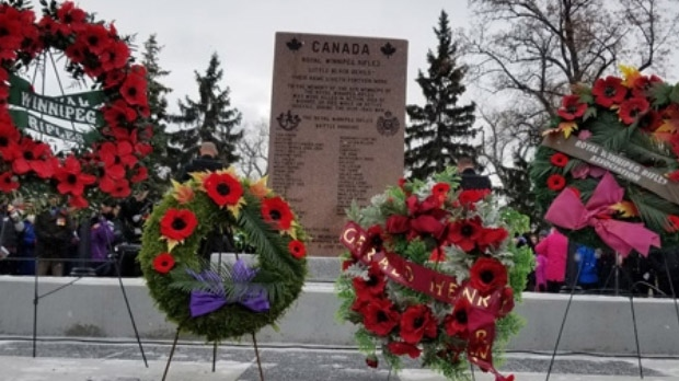 The Royal Winnipeg Rifles Regiment marked Remembrance Day parade at the memorial to their 44th battalion at Vimy Ridge Memorial Park. (Photos: Daniel Timmerman/CTV News)