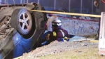 A man tried to drive away after hitting a car, but wound up driving into a construction hole