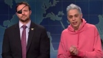 Dan Crenshaw (left) appears on Saturday Night Live with Pete Davidson (right). (@nbcsnl / Twitter)