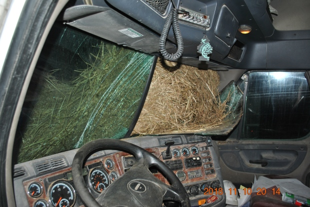 Hay bale windshield