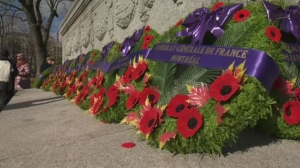 One of the wreaths honours LGBTQ soldiers.