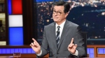 "This Nov. 6, 2018 photo released by CBS shows host Stephen Colbert on the set of ""The Late Show with Stephen Colbert"" in New York. A think tank that has studied the content of late-night comedy for the past 26 years says Trump was the butt of more jokes in 2017 than any other public figure has for a single year. (Scott Kowalchyk/CBS via AP)"