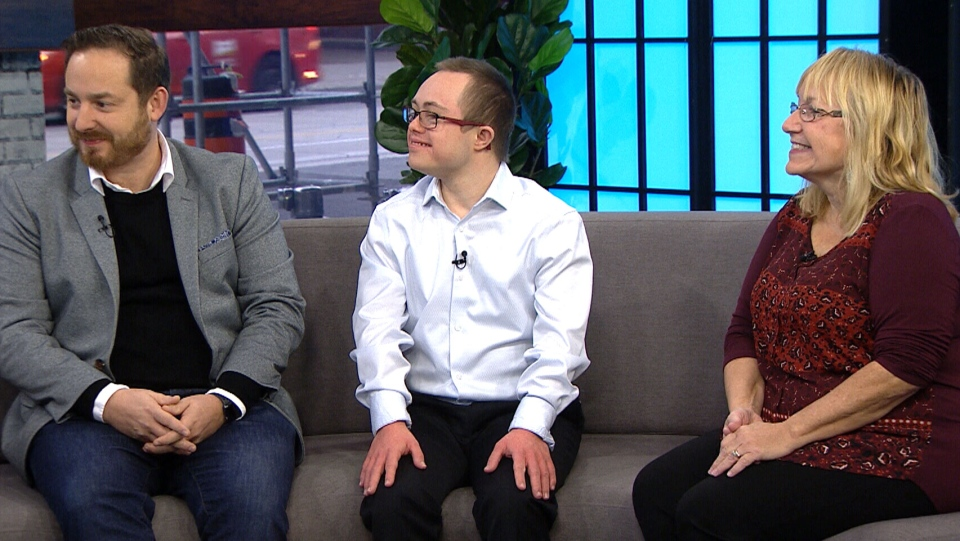 From left, Ben Tarr from the Canadian Down Syndrome Society, Joshua Macdonald, 22, and his mother Karen Macdonald on CTV's Your Morning.