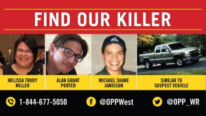 OPP released this poster asking for the public to come forward with information in the deaths of three people found near London, Ont.