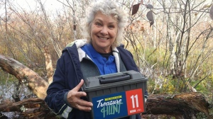 A Nova Scotia geocacher has brought home the biggest bounty in a treasure hunting contest along the world's longest network of recreational trails. (Janet Shellnutt/Facebook)