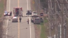 Medway Road was closed after a serious crash north of London, Ont. on Monday, Nov. 12, 2018. (Gerry Dewan / CTV London)