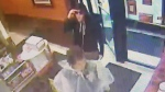 Police are trying to identify two people suspected of stealing a poppy donation can from a Tim Hortons in Stellarton. (Stellarton Police Service)