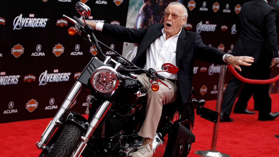 """Stan Lee arrives at the premiere of """"The Avengers"""" in Los Angeles, April 11, 2012. (AP Photo/Matt Sayles)"""