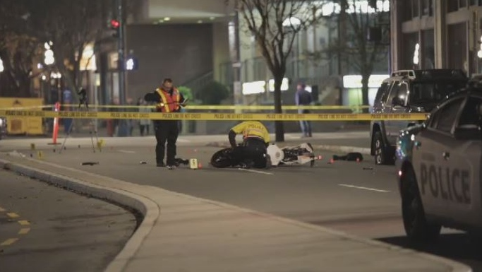 A pedestrian is fighting for their life in hospital following a serious crash with a motorcycle that injured three people in downtown Victoria. Nov. 10, 2018. (CTV Vancouver Island)
