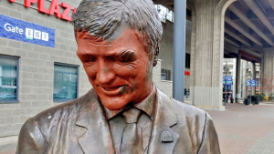 A statue of Pat Quinn was found with orange paint covering its face on Monday afternoon.