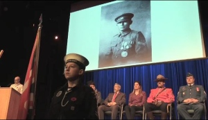 A Sudbury high school holds a special ceremony to honour the fallen former students lost in World War One. Matt Ingram reports.