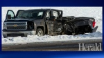 The damage to a stolen Chevrolet pickup truck following a November 12 crash at the intersection of Highway 4 and Highway 845 (image: Lethbridge Herald)