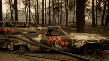 Following the Camp Fire, scorched cars line Pearson Road, Monday, Nov. 12, 2018, in Paradise, Calif. (AP Photo/Noah Berger)
