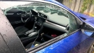 The front window of Elizabeth Bristow's vehicle was smashed and some of her belongings stolen. (Elizabeth Bristow)
