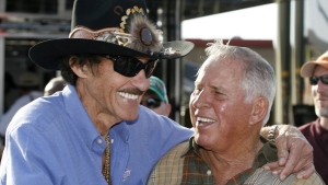 Richard Petty, left, and David Pearson at Atlanta Motor Speedway in Hampton, Ga., on March 6, 2009. (Glenn Smith / AP)