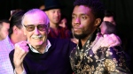 "Comic book legend Stan Lee, left, creator of the ""Black Panther"" superhero, poses with Chadwick Boseman, star of the new ""Black Panther"" film, at the premiere at The Dolby Theatre on Monday, Jan. 29, 2018, in Los Angeles. (Photo by Chris Pizzello/Invision/AP)"