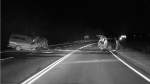 This dashcam image captures the aftermath of a two-vehicle head-on collision on Highway 26, east of Meaford, Ont., on Monday, November 12, 2018 (OPP Grey County Detachment/Twitter)