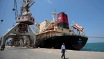 In this Sept. 29, 2018 file photo, a cargo ship is docked at the Red Sea port city, of Hodeida, Yemen. (AP Photo/Hani Mohammed, File)