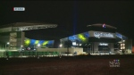 Regina stadium lights up blue and gold