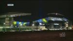 Regina stadium lights up blue and gold