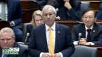 Ontario Finance Minister Vic Fedeli answers NDP Deputy Leader Sara Singh during question period on Nov. 13, 2018.