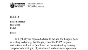 Letter from National Lacrosse League to cancel beginning of the regular season. (Twitter/Zach Currier)
