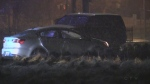 Vehicle stolen is found on Montserrand Street in Barrie, Ont. on Monday, Nov. 12, 2018 (CTV News/Dave Erskine)