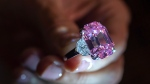 In this Thursday, Nov. 8, 2018 file photo, a Christie's employee displays an 18.96-carat fancy vivid pink diamond during a preview at Christie's in Geneva, Switzerland. (Martial Trezzini/Keystone via AP, file)