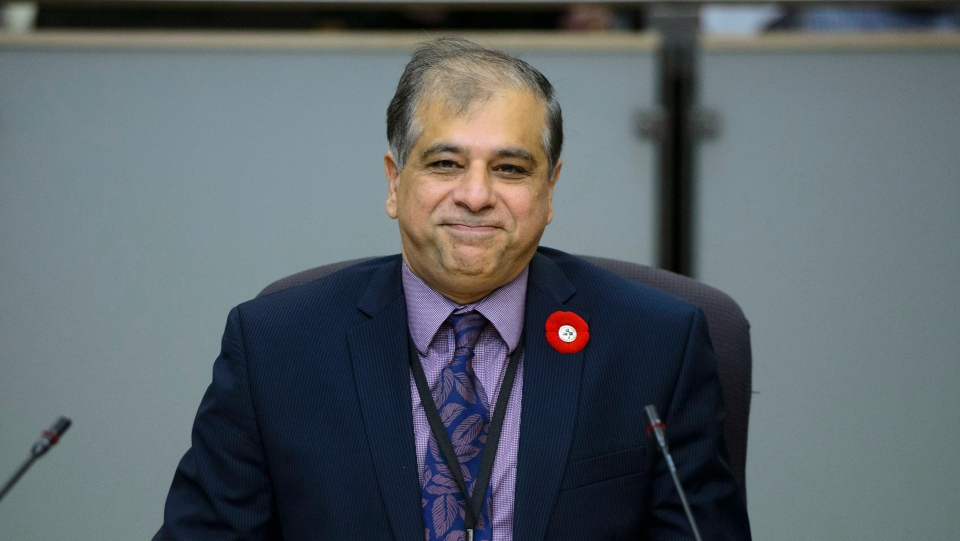 Anil Arora, Chief Statistician of Canada (Statistics Canada), appears as a witness at a Senate Committee on Banking, Trade and Commerce regarding the agency's request that major financial institutions provide 500,000 Canadians' detailed banking information in Ottawa on Thursday, Nov. 8, 2018. THE CANADIAN PRESS/Sean Kilpatrick