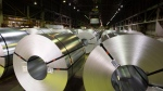 Rolls of coiled coated steel are shown at Stelco in Hamilton, Ont., on June 29, 2018. (THE CANADIAN PRESS/Peter Power)