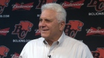 Outgoing BC Lions head coach Wally Buono speaks to reporters on the team's locker clean-out day. Nov. 13, 2018.