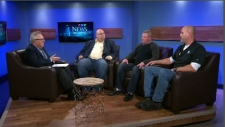 Steve Murphy chats with the leaders of the three unions representing paramedics in N.B., N.S., and P.E.I.