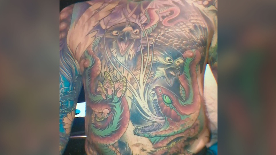 The tattoos that covered nearly all of Chris Wenzel's body are being preserved and framed by a U.S. company. (CTV Saskatoon)