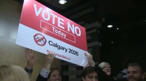 Celebrations at the No Calgary Olympics gathering on Tuesday night following the release of the unofficial plebiscite results