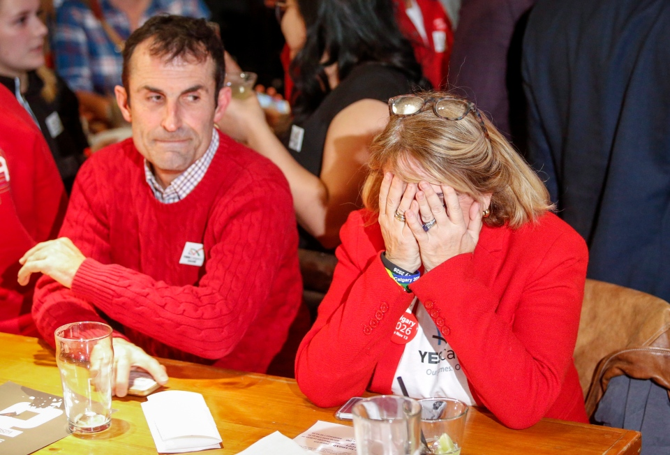 """Members of the """"Yes"""" campaign react to the results of a plebiscite on whether the city should proceed with a bid for the 2026 Winter Olympics, in Calgary, Alta., Tuesday, Nov. 13, 2018.THE CANADIAN PRESS/Jeff McIntosh"""