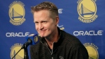 Golden State Warriors head coach Steve Kerr speaks at a news conference before an NBA basketball game between the Warriors and the Atlanta Hawks in Oakland, Calif., Tuesday, Nov. 13, 2018. Warriors All-Star forward Draymond Green was suspended one game without pay by Golden State on Tuesday for conduct detrimental to the team. (AP Photo/Jeff Chiu)