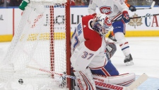Montreal Canadiens' goalie Antti Niemi (37) is scored on by the Edmonton Oilers in Edmonton, Alta., on Tuesday November 13, 2018. THE CANADIAN PRESS/Jason Franson