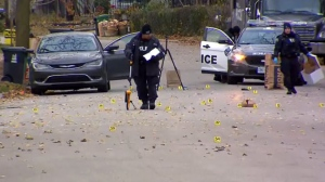 Toronto police officers investigating a fatal shooting in the city's Humberlea neighbourhood on Nov. 14, 2018.