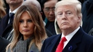 U.S. President Donald Trump and first lady Melania Trump attend a commemoration ceremony for Armistice Day, 100 years after the end of the First World War at the Arc de Triomphe in Paris, France, Sunday, Nov. 11, 2018. (Benoit Tessier/Pool Photo via AP)