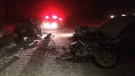 A Jeep and pickup truck lay mangled following a serious crash in Severn Township, Ont. on Tuesday, November 13, 2018 (CTV News/Chris Garry)