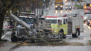 A truck downed a power pole in Surrey, B.C. Wednesday morning, cutting power to thousands of hydro customers.
