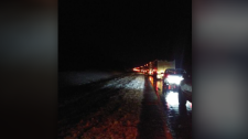 Motorists were stuck on Highway 2 near Havelock, N.B. for several hours following a fatal collision on Nov. 13, 2018. (Submitted: Dave Ferdinand)