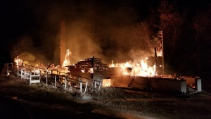 Fire destroyed the church on Cowessess First Nation on Nov. 14, 2018. (CREDIT: KAHKEWISTHAW FIRE DEPARTMENT)