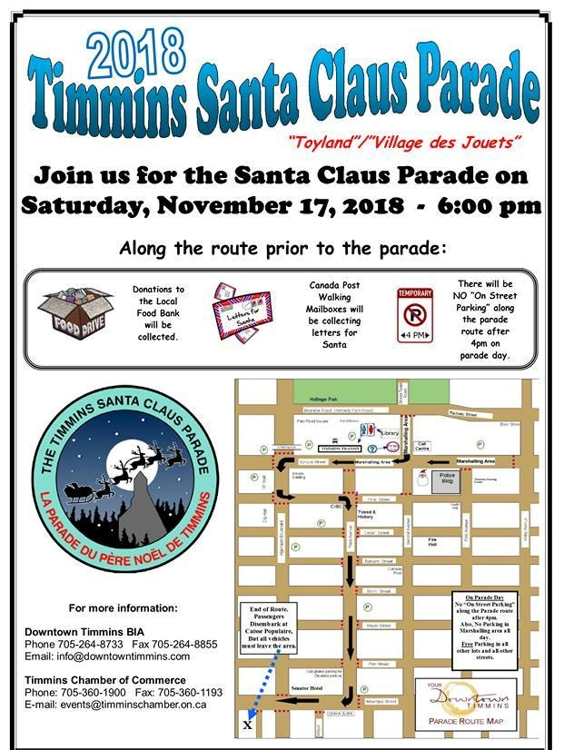 2018 Timmins Santa Claus Parade route