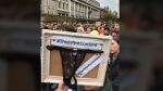 Protesters in Ireland took to the streets to voice their objection to the use of a teenager's underwear in court. (I Believe Her - Ireland / Twitter)