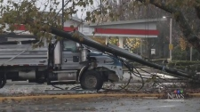 Power pole downed in crash